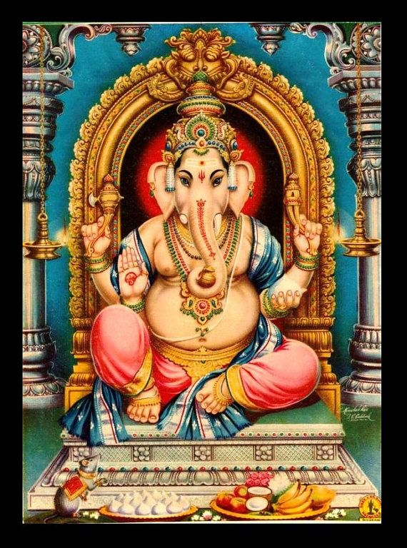 Mature Religion Ganesha Ganesh Hindu God Remover Obstacles Giclée Printed Sew on 3 x 4in Twill Back Patch Frame Able Art Crafts Free S/H MBG