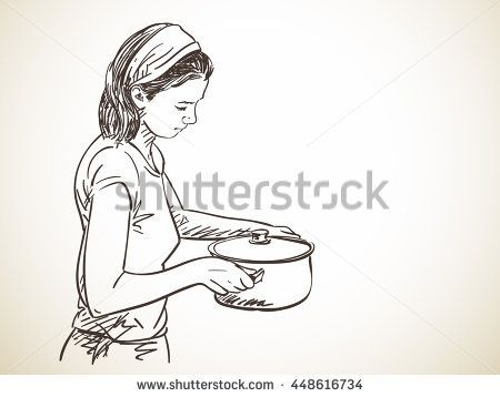 Sketch of woman with cooking pot, Hand drawn vector illustration