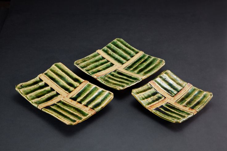織部刻文角皿 Square plate with engraved, Oribe type 2012