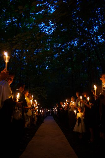Everyone holding a candle as you walk out. BEAUTIFUL IDEA!                                                                                                                                                                                 More