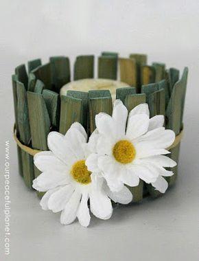 más y más manualidades: Latas decoradas con broches de ropa