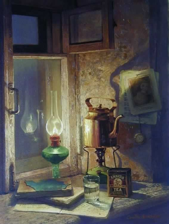 """""""Burning the Midnight Oil"""", by Dmitri Annenkov - this is a painting, I'd love to copy it in colored pencils"""
