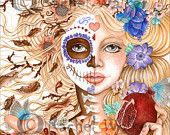 Persephone, Day of the Dead, Blonde, Flowers, pomegranate, seeds, Death, Greek Myth, underworld, Hades wife,   painting by Rachel Walker