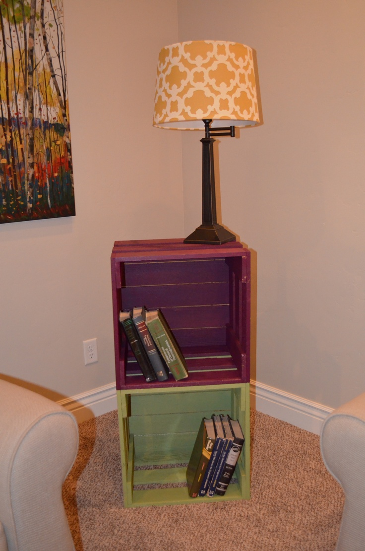 Painted Crate Bookcase Or End Table #upcycle
