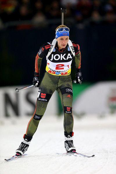 Vanessa Hinz of Germany skates during the JOKA Biathlon World Team Challenge 2016 at Veltins-Arena on December 28, 2016 in Gelsenkirchen, Germany.