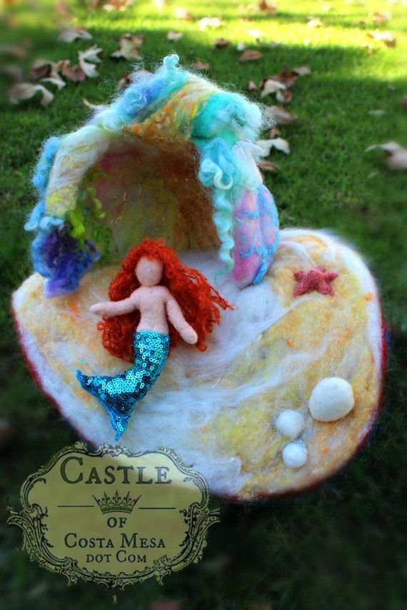 The Mermaid and Her Cave. Waldorf Mini Needle-Felted Playscape by Castle of Costa Mesa