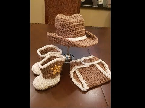 b59cd29c1a4ad Crochet Baby Cowboy Set - Free Pattern  Video