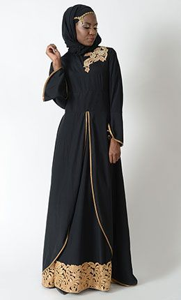 Double Layer Gold accent Eid Abaya Dress+Hijab