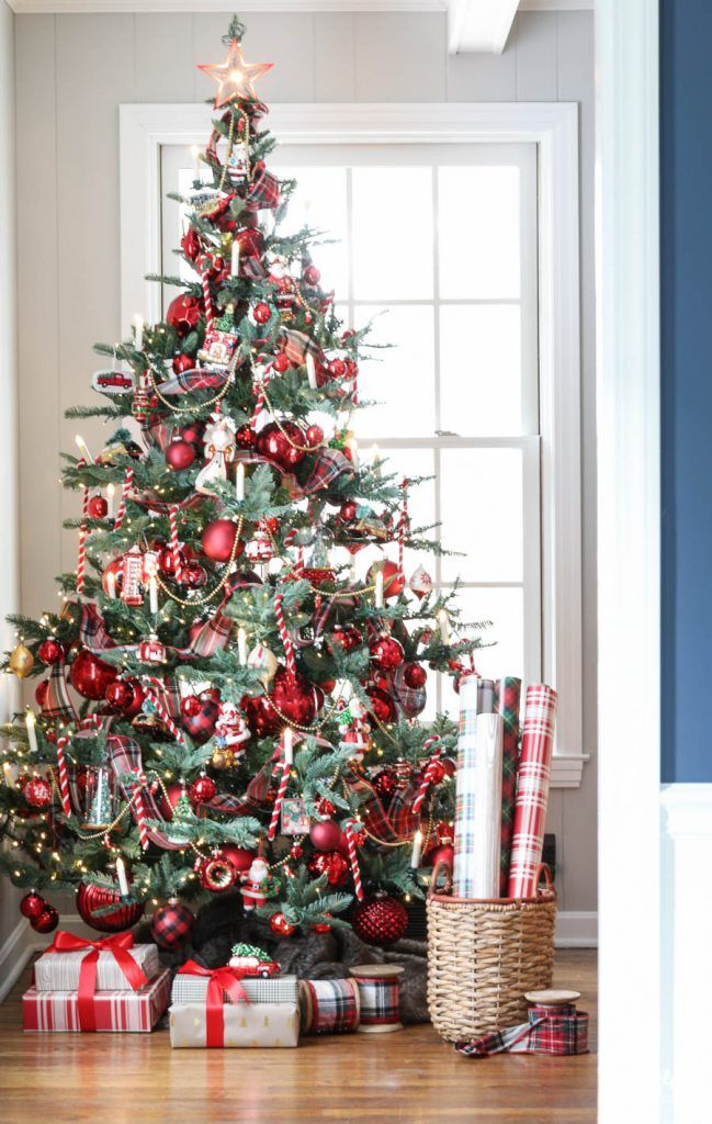 The Incredibly Talented Michael From The Inspired By Charm Blog Shares His Tree Tri Red Christmas Tree Christmas Tree Themes Diy Christmas Decorations For Home