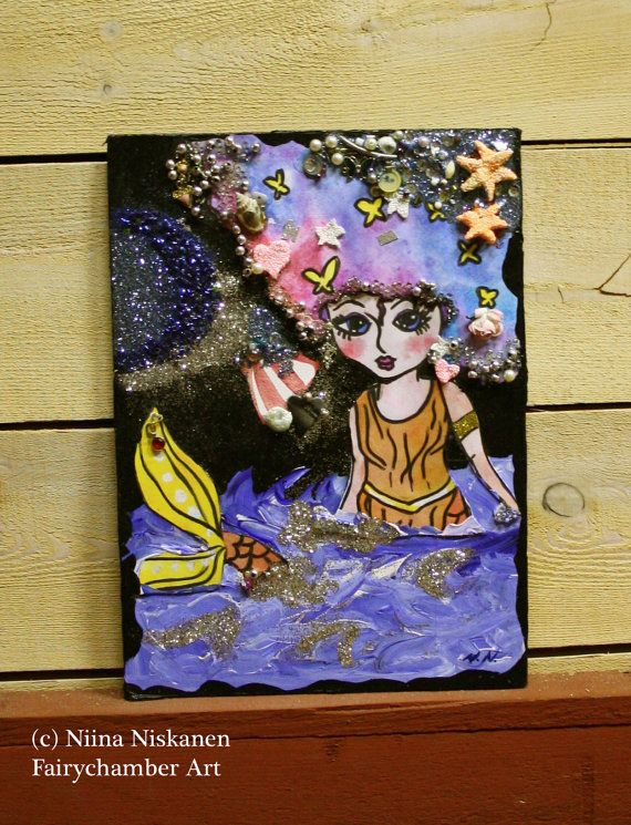 Mermaid Dreams  Original Mixed Media Painting  by fairychamber