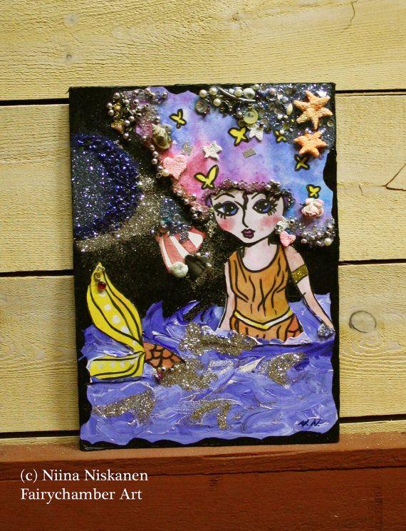 Mermaid Dreams  Original Mixed Media Painting  by fairychamber