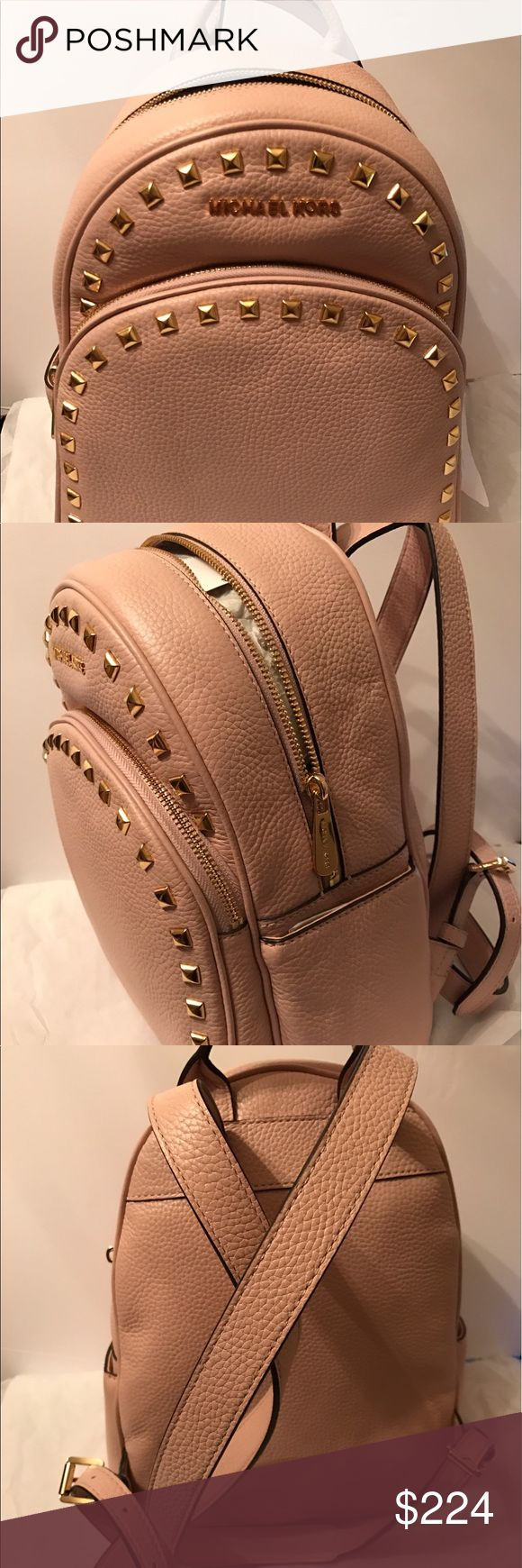 Michael Kors Frame Out Stud Leather Backpack - NEW Real leather! Soft light pink with gold studs. Brand NEW w Tag!  100% AUTHENTIC!  Original price : $398 + tax!!!  A must have  Medium size - not too big where it looks like a school book back! And not too small where you can't carry anything inside. The PREFECT size!!   Super cute, incredibly soft real leather, very light weight, lots of compartments inside, two side pocket outside, and beautifully designed!! Has adjustable straps too…