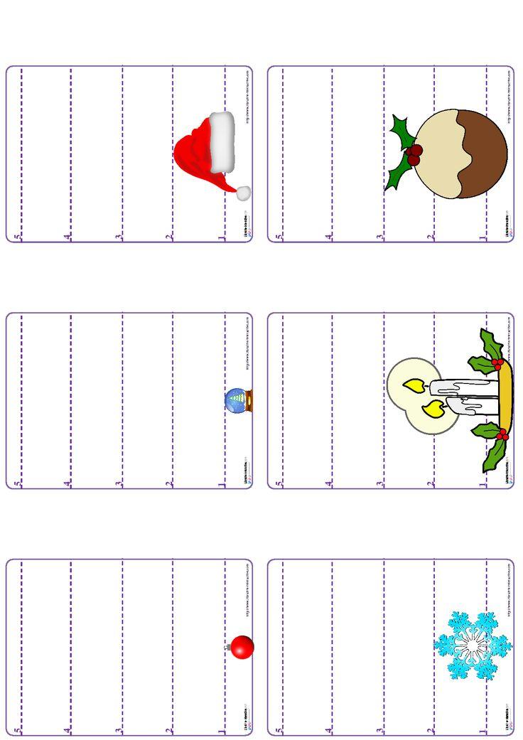 Un jeu de bataille avec les chiffres de 1 à 5 sur le thème de Noël.