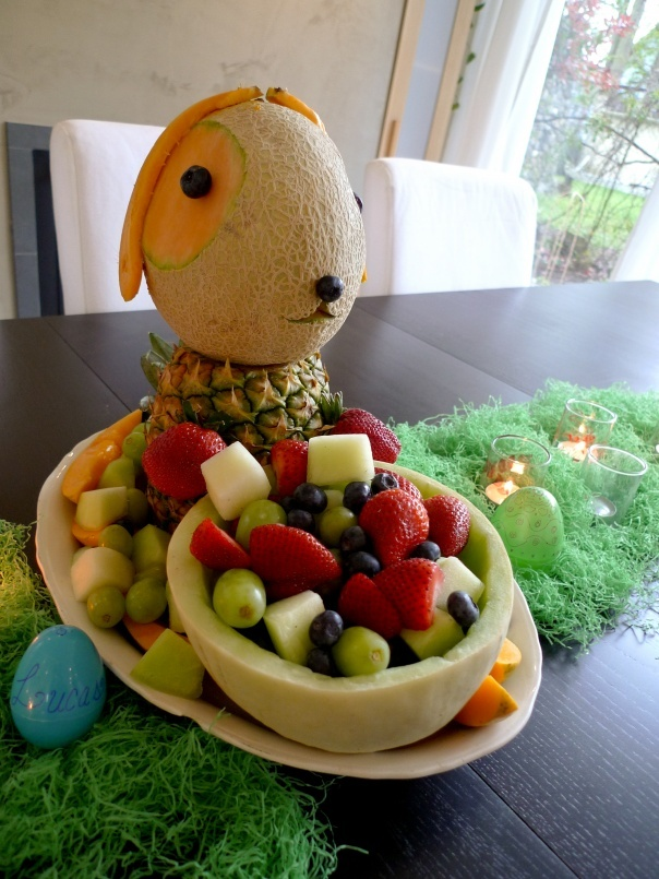 Easter Fruit bunny: Tags, Fruit Salad, Fruit Platters, Easter Bunnies, Easter Fruit, Funny Food, Deviled Eggs, Devil Eggs, Fruit Display