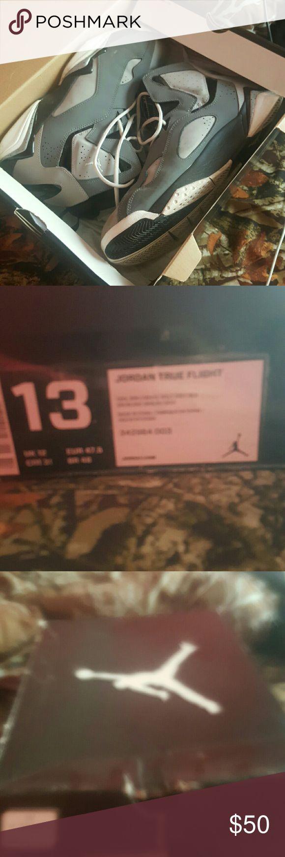 Size 13 jordan True flights Grey and white jordans Jordan Shoes Sneakers