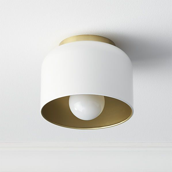 bell white flush mount lamp  | CB2