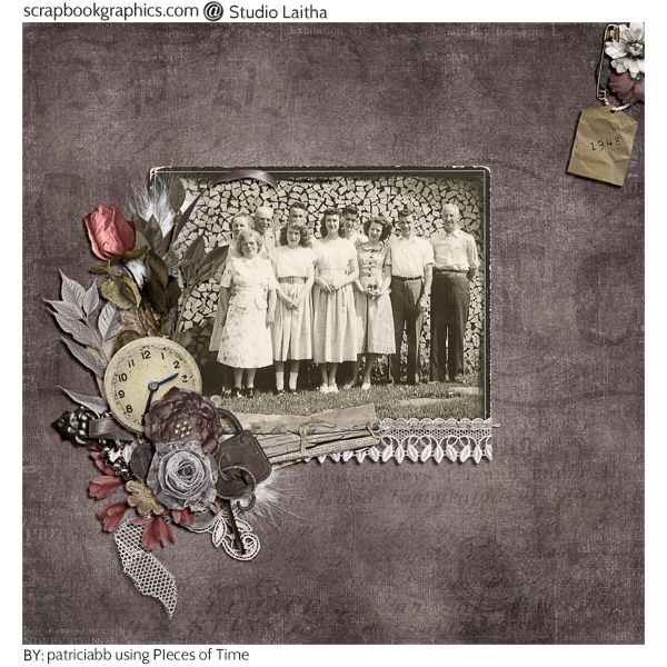 Louise Friends and Family 1948. Created using elements from Pieces Of Time - Page Kit by Studio Laitha (http://shop.scrapbookgraphics.com/Pieces-Of-Time-Page-Kit.html)