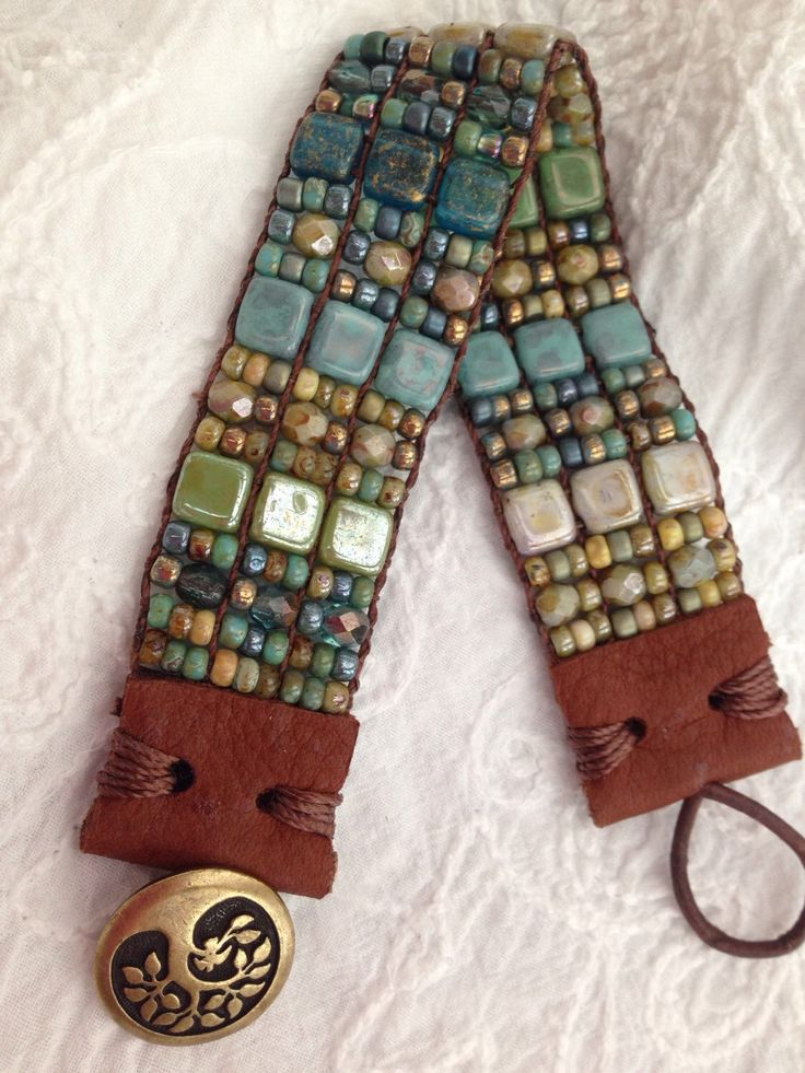 The Seashore. Turquoise, Denim Blues, Teals, Sage, Moss Green and Sandy Tans Hand Loomed Beaded Bracelet With Leather End Tabs Tree of Life by FlyByNightBracelets on Etsy https://www.etsy.com/listing/242766840/the-seashore-turquoise-denim-blues-teals