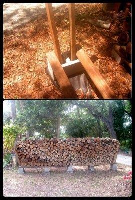 The Homestead Survival | Super Easy Super Cheap Firewood Rack | http://thehomesteadsurvival.com