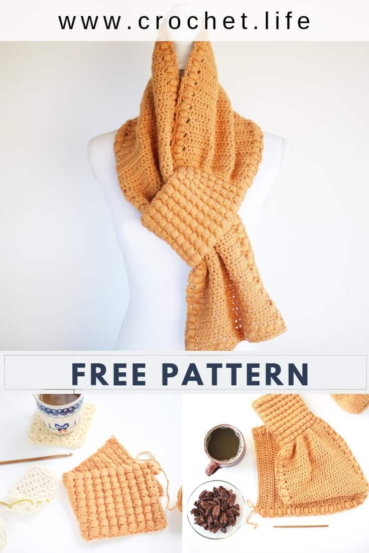 Easy Keyhole Scarf Crochet Pattern Directions Come In Two Sizes