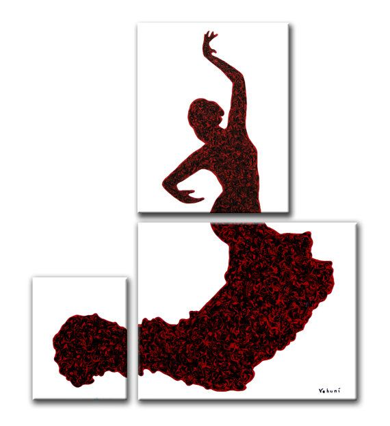 Flow of Flamenco Original Painting in 3 pieces