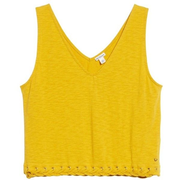 Women's True Religion Brand Jeans Laced Hem Tank (190 PEN) ❤ liked on Polyvore featuring tops, mustard, cotton tank, cotton tank tops, lace up crop top, cotton crop top and laced up top