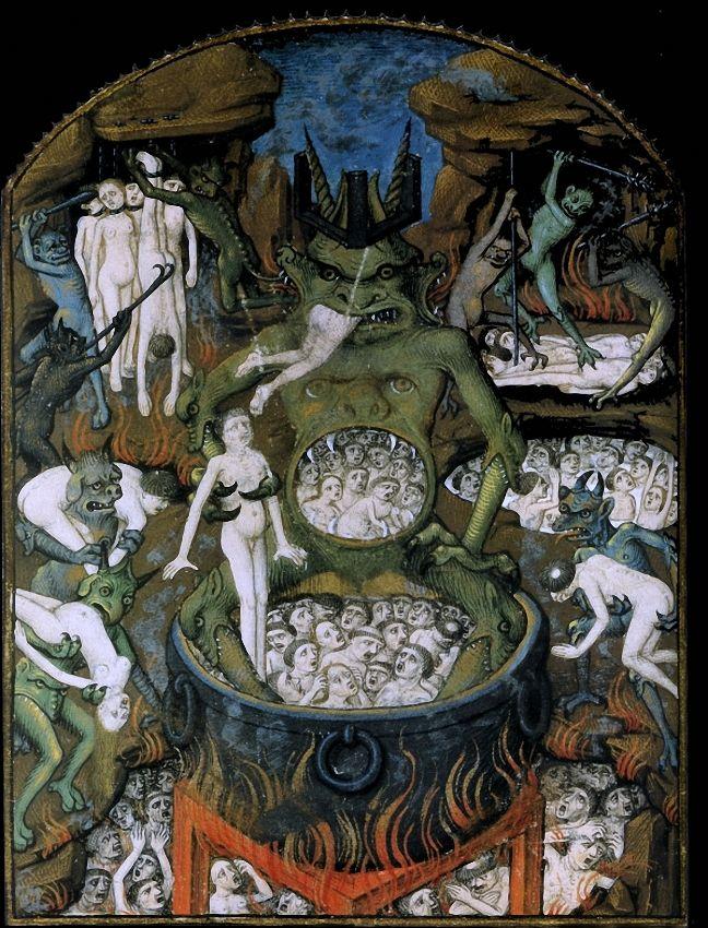 Hell, illustration from St. Augustine's manuscript De civitate Dei libri XXII (The city of God), 412-426.
