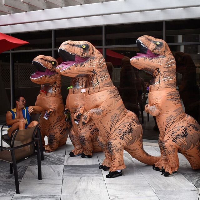 Happy #Saturday! Do something silly today. We crashed a pool party at DragonCon last Saturday...always a good time in the T. Rex suits! #atlanta #Georgia #atl #dragoncon2016 #dragoncon #blogger #houstonblogger #redshoesredwine #blog #lifestyleblogger #costume #costumer #cosplay #cosplayer #travel #wanderlust #travelblogger #travelblog #travelphotgraphy #travelgram #traveler #igdaily #traveldiary #inflatabletrex #tyrannosaurus #jurassicworld #trex #trexcostume #ootd