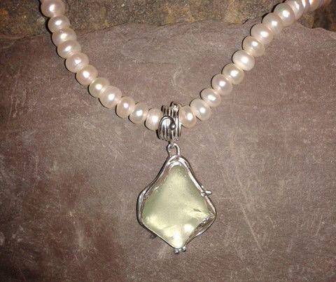 Seafoam pendant on pearls. By Roche Designs