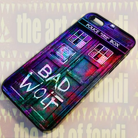 Bad Wolf Police Box For iPhone 4 or 4s Black Rubber Case