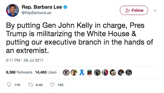 """Liberalism Is A Mental Disorder~~ Dem Rep. Barbara Lee: Trump Is """"Militarizing"""" White House By Putting """"Extremist"""" General Kelly In Charge…"""