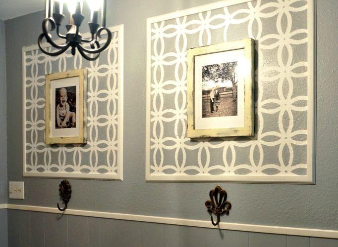 DIY Framed Stencil Decor: Wall Art, Dining Room, Idea, Stencil Frame, Frames, A Frame, Stenciled Frame, Stencil Wall