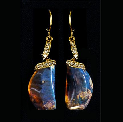 Blue Amber Earrings With Diamonds In Gold
