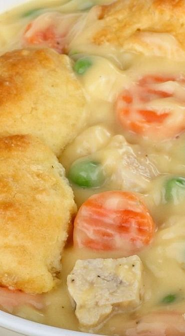 Mom's Fabulous Baked Chicken Pot Pie with Biscuit Crust | Easy Dinner ...