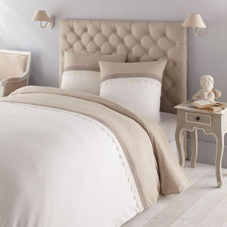 Parure de lit 240 x 260 cm en lin blanche et écrue MANOSQUE