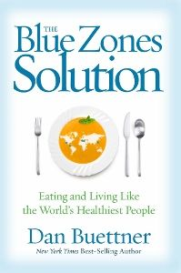Food list for The Blue Zones Solution (2015) by Dan Buettner - a longevity diet which suggests building a community to improve your likelihood of success. Eat whole foods, mostly plant-based. Eat until you're 80% full. Avoid processed foods.