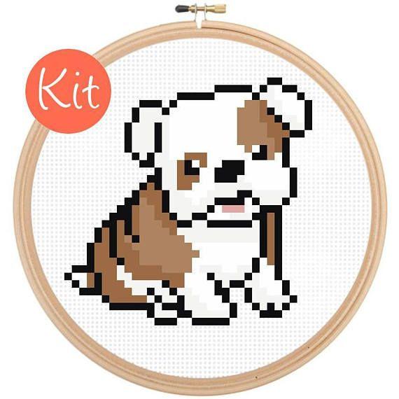 Beginner Cross Stitch Kit Puppy Dog Husky Puppy