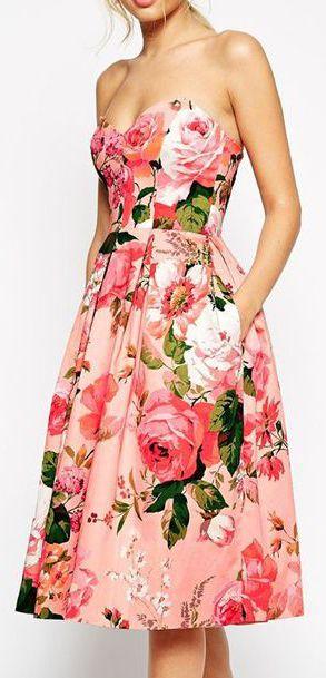 ASOS SALON Pinky Rose Bandeau Midi Prom Dress