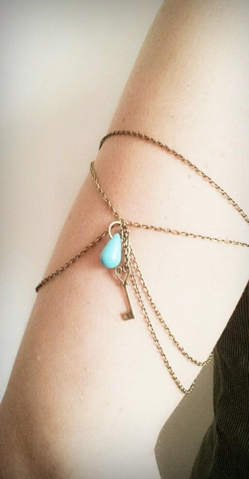 Armlet Slave Bracelet Upper Arm Bracelet Boho Upper Arm Cuff Chain Arm Band Heart Key Charm Turquoise Bohemian Drape Arm Jewelry via Etsy