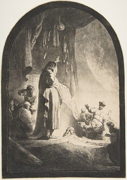 The Raising of Lazarus: Large Plate Rembrandt (Rembrandt van Rijn)  (Dutch, Leiden 1606–1669 Amsterdam) Date: ca. 1632 Medium: Etching and burin Classification: Prints Credit Line: Gift of Henry Walters, 1917 Accession Number: 17.37.194