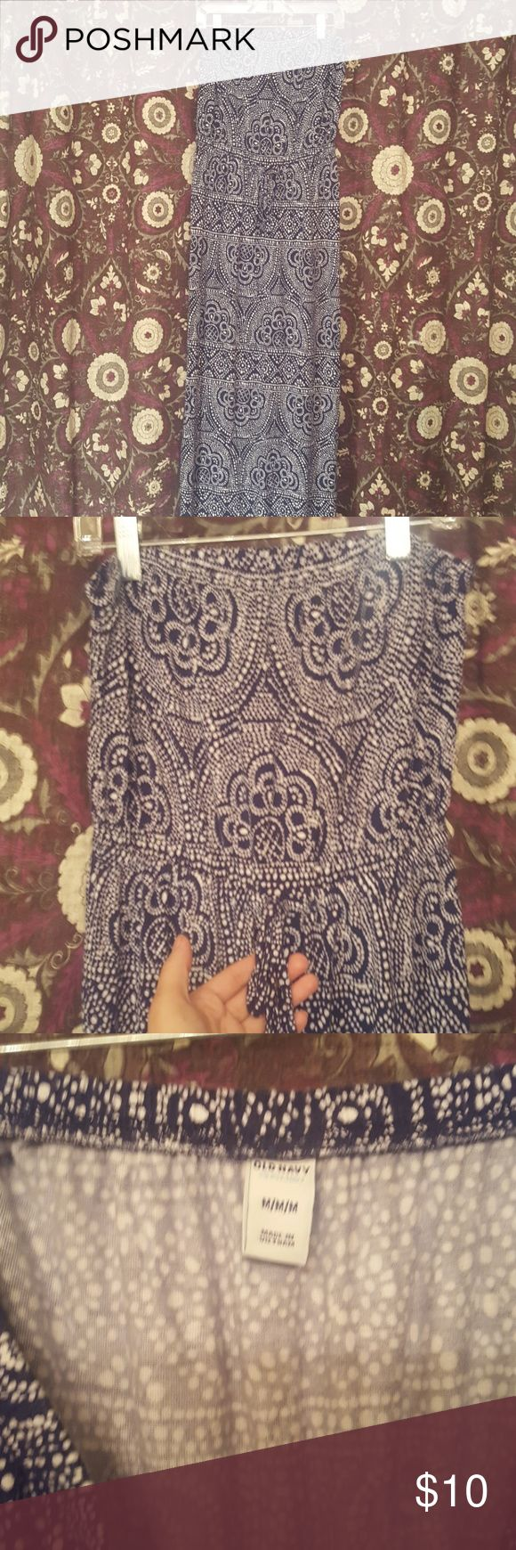 Old Navy Strapless Blue Maxi Dress Blue and White Dotted Design Size M Maxi Dress  Like New old nav Dresses