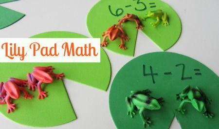 Lily Pad Subtraction Activity: Math Center, Activities For Kids, Froggy Math, Cute Ideas, Frogs Math, Babies Toddlers Kids, Math Ideas, Homeschool Math, Fun Math