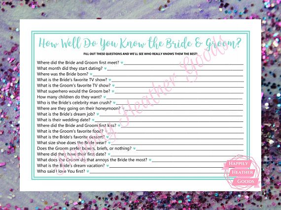 TITLE: how well do you know the bride and groom DESCRIPTION: printable game for a bridal shower in robin egg blue with a cursive font; one game per page; this template is also perfect for teal bridal shower games and turquoise bridal shower games  Your download will contain the