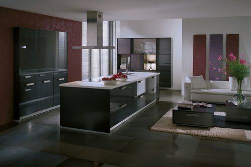 cuisine avec cuisini re dans l 39 ilot et hotte suspendue futur maison id e ambiance d co. Black Bedroom Furniture Sets. Home Design Ideas