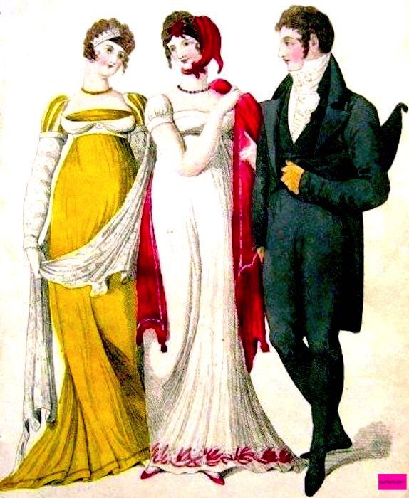 1807  Trio in Evening Full Dresses, English. Lady in a yellow Empire style dress with a train, long draping shawl, long white gloves and evening hairstyle. Lady in a white dress trimmed with pink to match the pink hat, shoes, and shawl. Gentleman in Black coat, trousers, yellow gloves, and a black bicorne hat under his arm.  Fashion Plate via Le Beau Monde.  suzilove.com