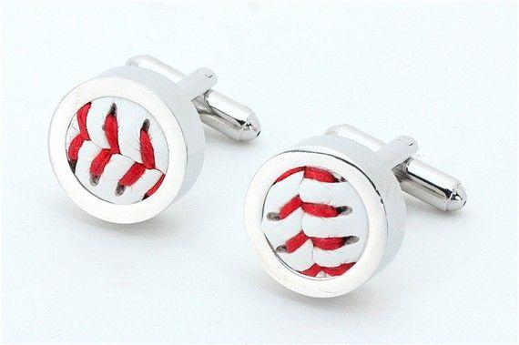 Groomsmen Wedding Gift - Baseball Cufflinks - Set of 5  ((( Made with a REAL baseball )))