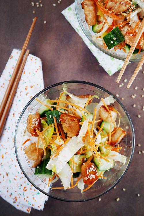 Salade de poulet au miel et au sésame