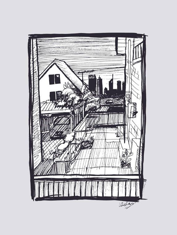 Perth and suburbia, available as a downloadable art print! I love how the scratchy black and white ink sketch looks against the grey background. Great home decor