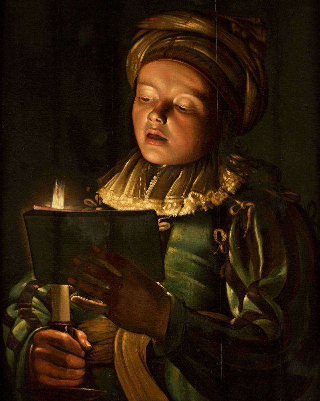 A BOY SINGING BY A CANDLELIGHT. oil on canvas. 70,5 × 56 cm. Private Collection.