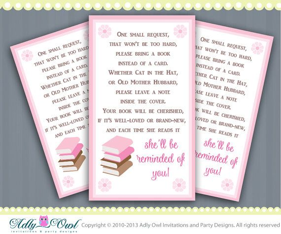 Pink Book Request Insert Card Printables For Baby Girl Shower Diy